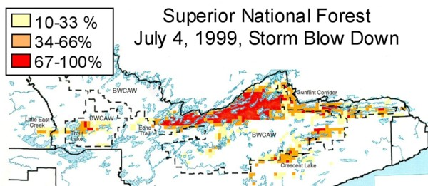 percentage of trees blown down in superior national forest in northeast minnesota on july 4 1999 scale 1 15 miles courtesy of usda forest service