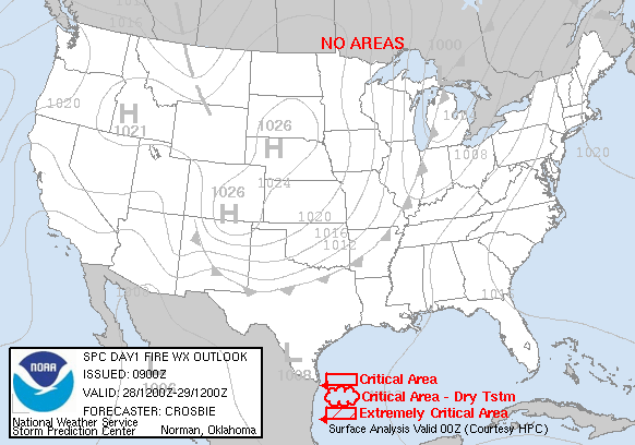 Day 1 Fire Weather Forecast graphic
