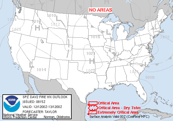 Day 2 Fire Weather Forecast graphic