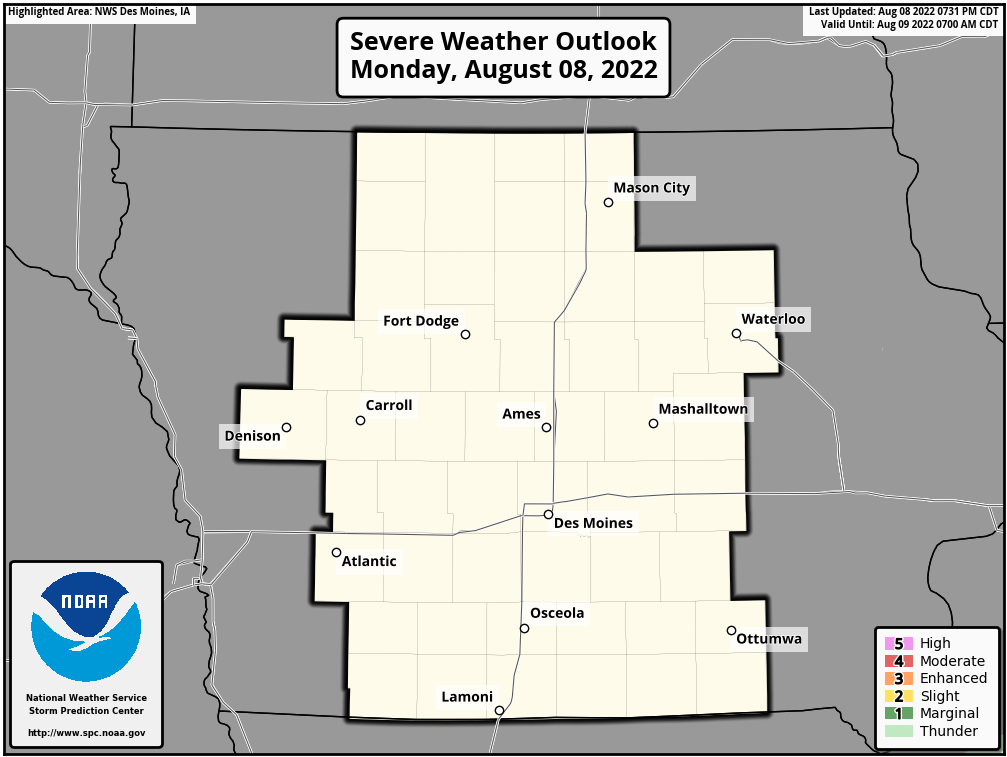 Day 1 Severe Weather Outlook, Des Moines, Iowa National Weather Service Area
