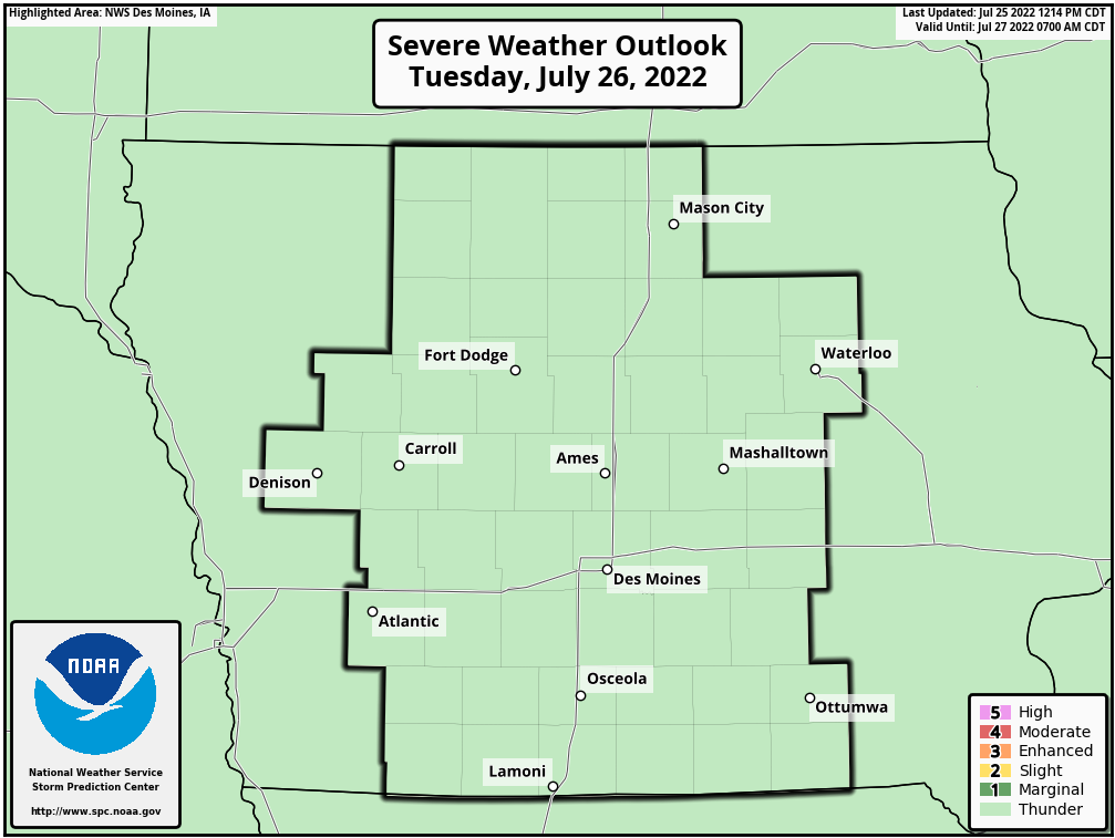 Day 2 Severe Weather Outlook, Des Moines, Iowa National Weather Service Area
