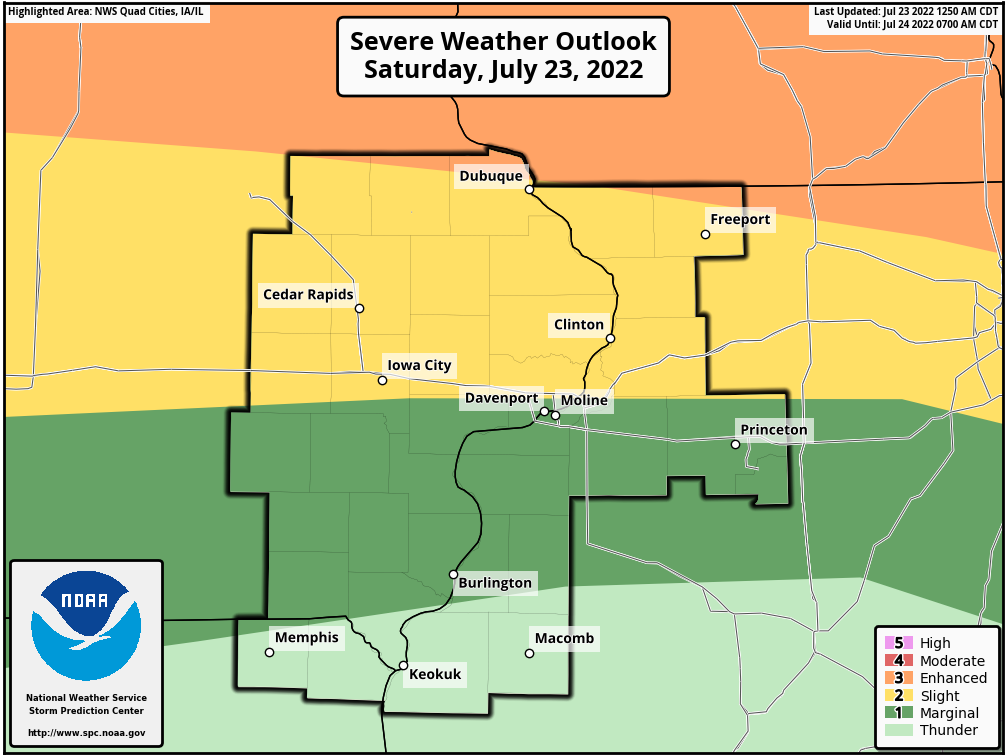 Day 1 Severe Weather Outlook, Quad Cities, Iowa National Weather Service Area