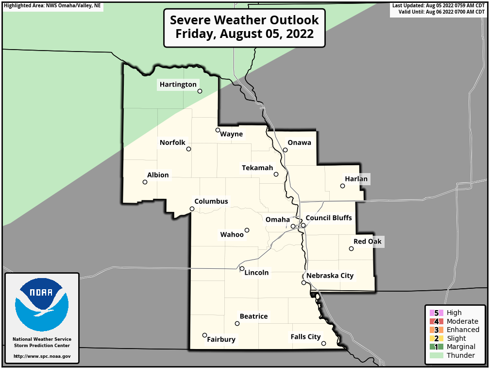 Day 1 Severe Weather Outlook, Omaha, Nebraska National Weather Service Area