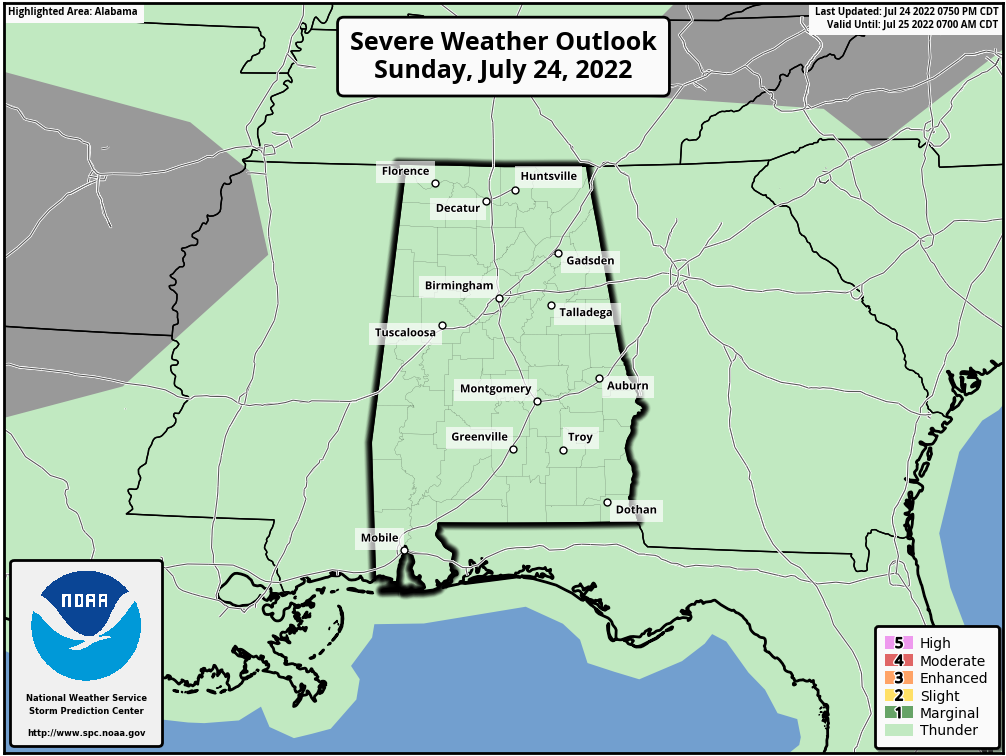 Alabama Severe Weather Outlook - Day 1
