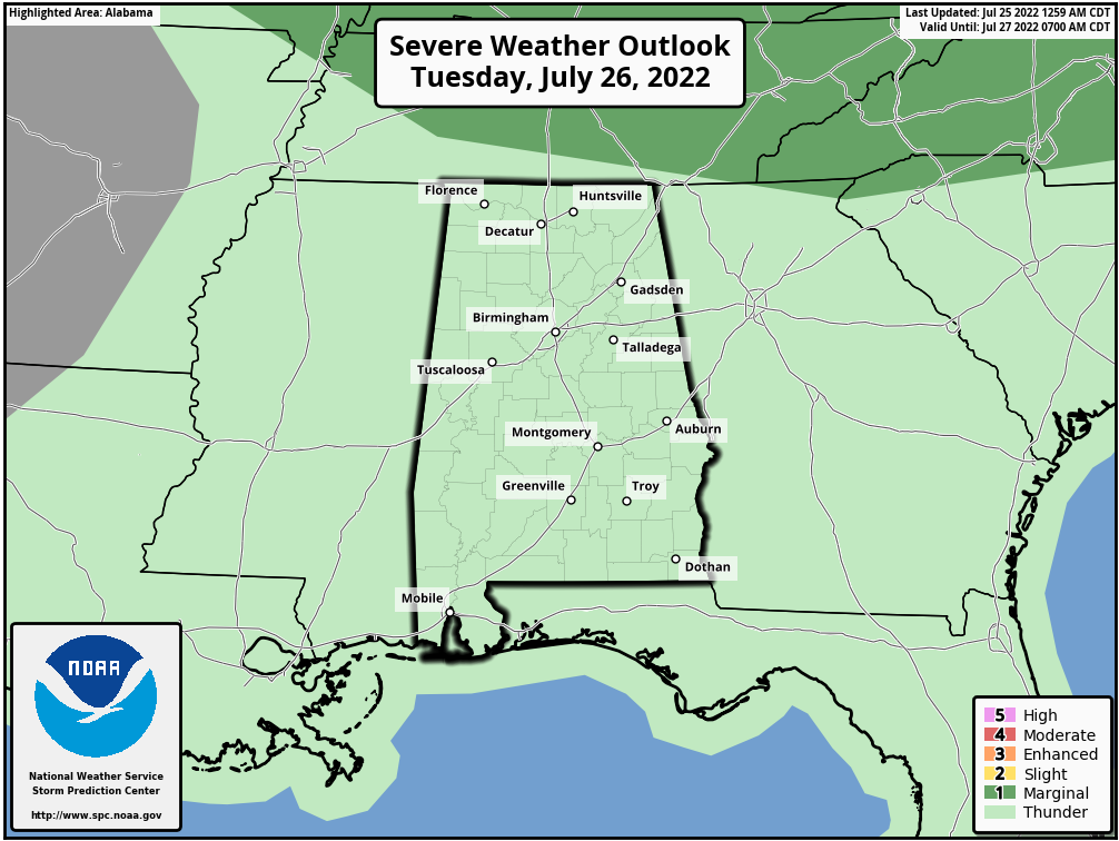 Alabama Severe Weather Outlook - Day 2