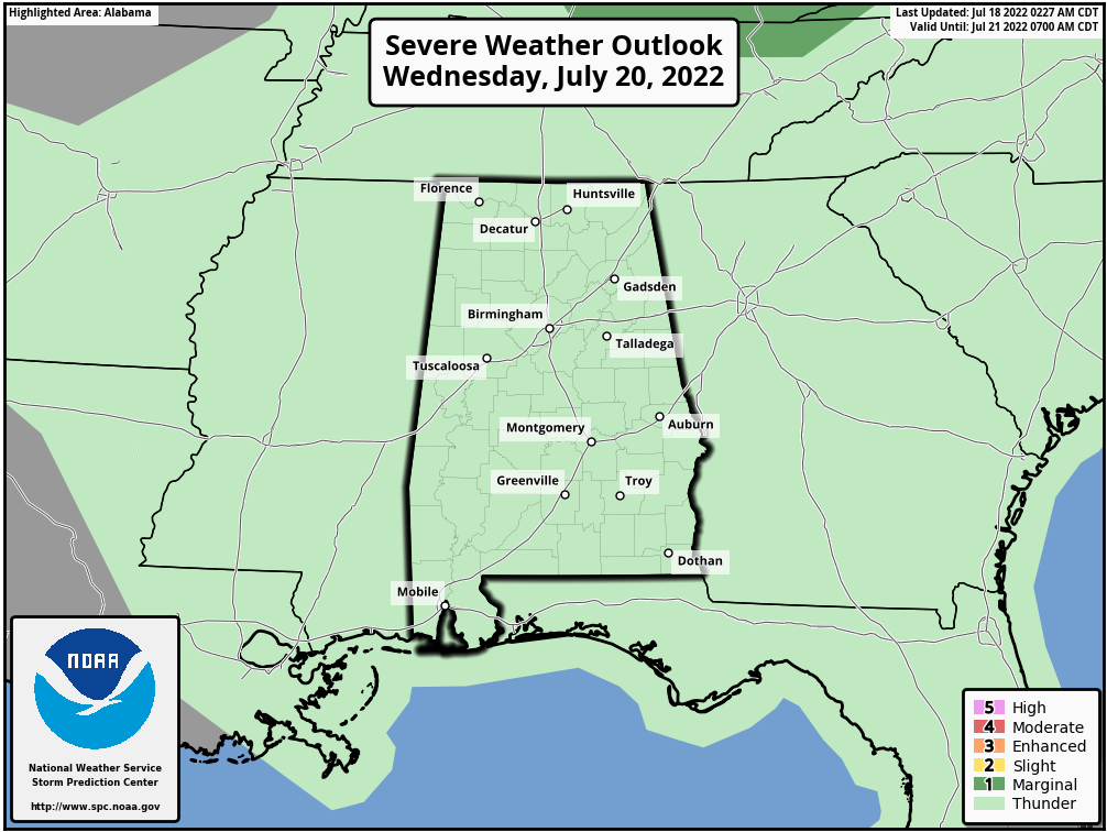Alabama Severe Weather Outlook - Day 3