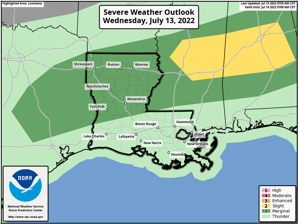 Louisiana Severe Weather Outlook - Day 1