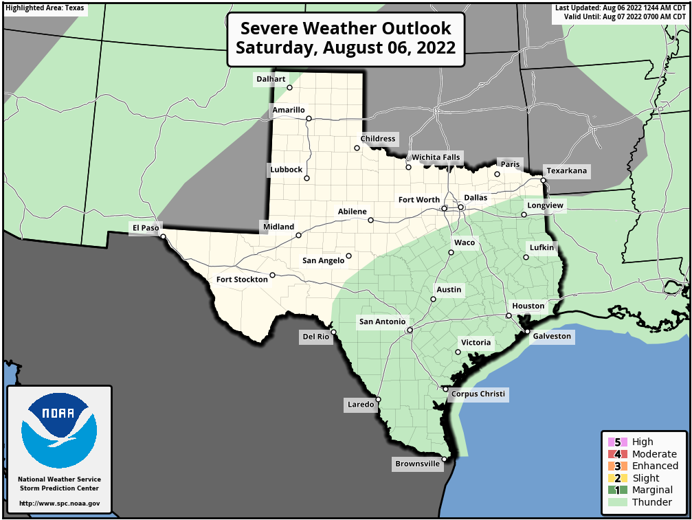 Texas Severe Weather Outlook - Day 1