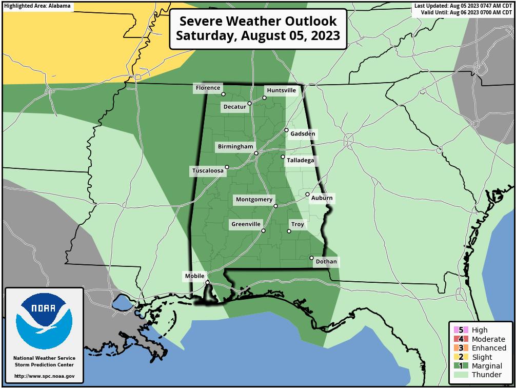 Alabama Outlook Map