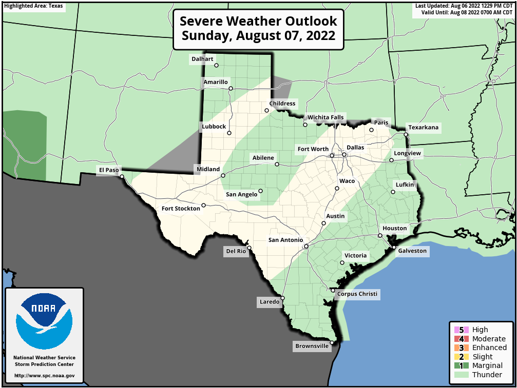 Weather Map Of Texas Severe Weather Outlook For Texas