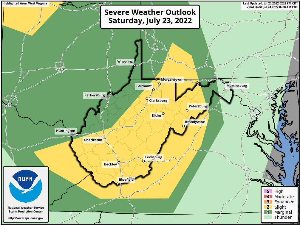 Day 1 West Virginia Severe Weather Outlook