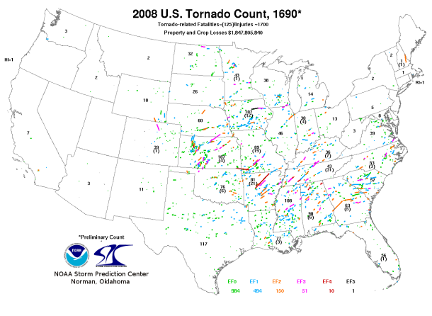 2008 Tornado Tracks