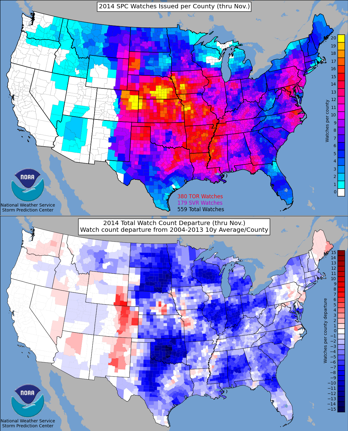 U.S. tornado watches issued in 2014 and the departure from the 10 year normal