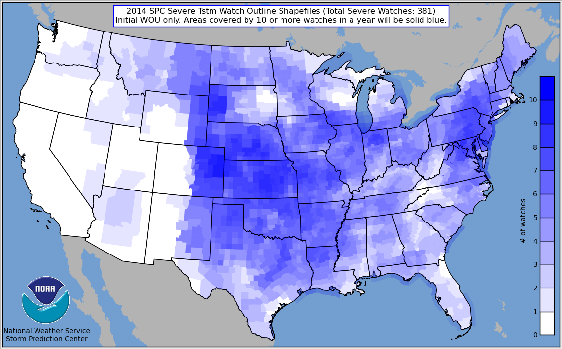 2014 NOAA Tornado Map