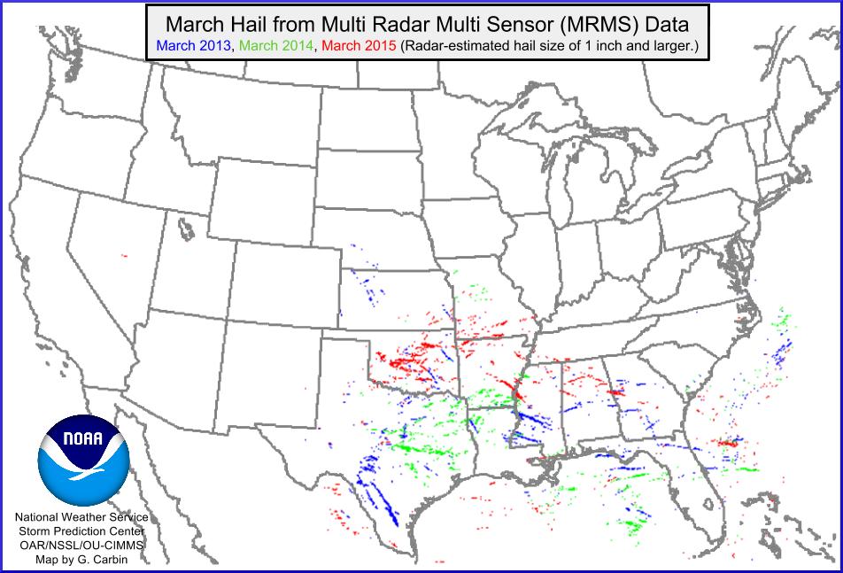 march 2013 2014 2015 radar based hail maps