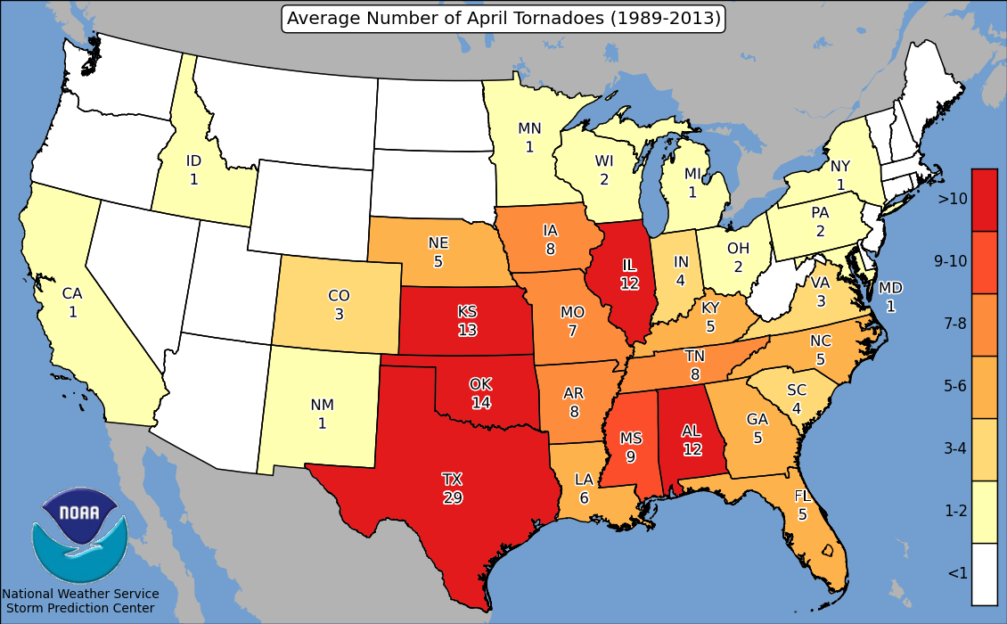Heres Where Tornadoes Typically Form In April Across The United - Tornaoda map us