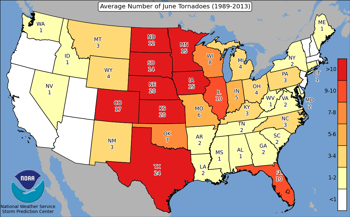 SPC Average Number of Tornadoes per State by Month