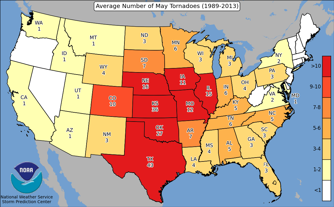 Heres Where Tornadoes Typically Form In May Across The United - Tornado maps in us