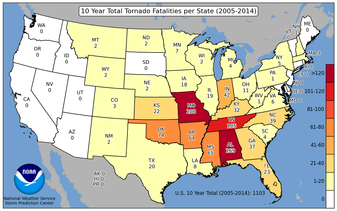 Storm Prediction Center Wcm Page - Us-tornado-map